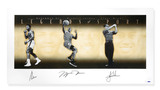 MUHAMMAD ALI, MICHAEL JORDAN & TIGER WOODS AUTOGRAPHED LEGENDS OF SPORT GOLD 49 X 25 COLLAGE