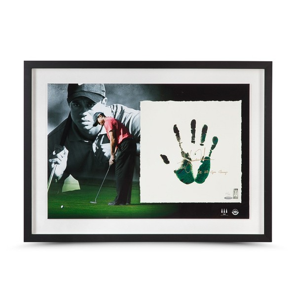 TIGER WOODS AUTOGRAPHED & INSCRIBED GREEN & BLACK TEGATA LITHOGRAPH