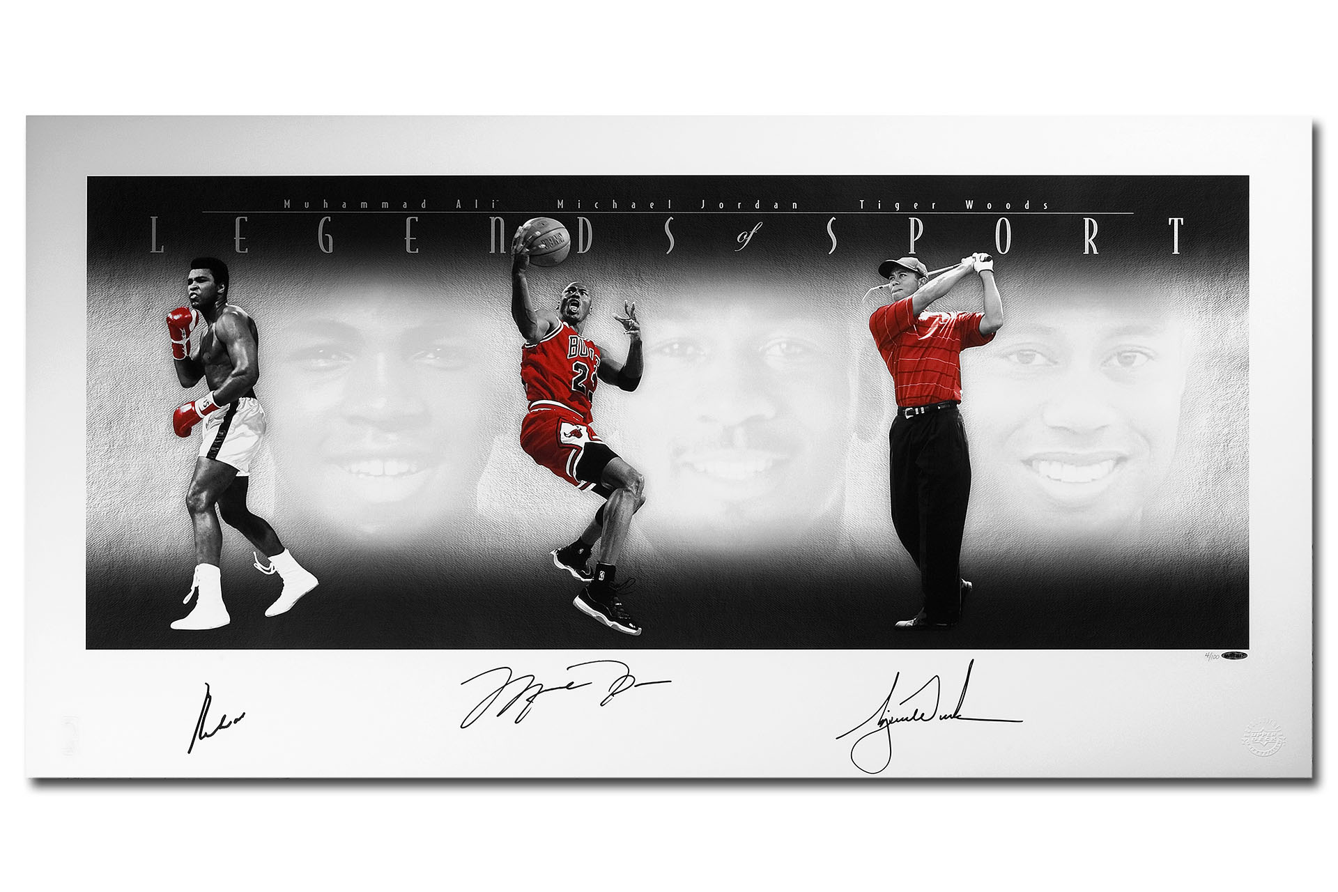 "MUHAMMAD ALI, MICHAEL JORDAN & TIGER WOODS AUTOGRAPHED LEGENDS OF SPORT PLATINUM 49"" X 25"" COLLAGE"