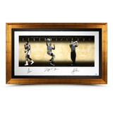 MUHAMMAD ALI, MICHAEL JORDAN AND TIGER WOODS AUTOGRAPHED LEGENDS OF SPORT 57X34 COLLAGE PHOTO FRAMED