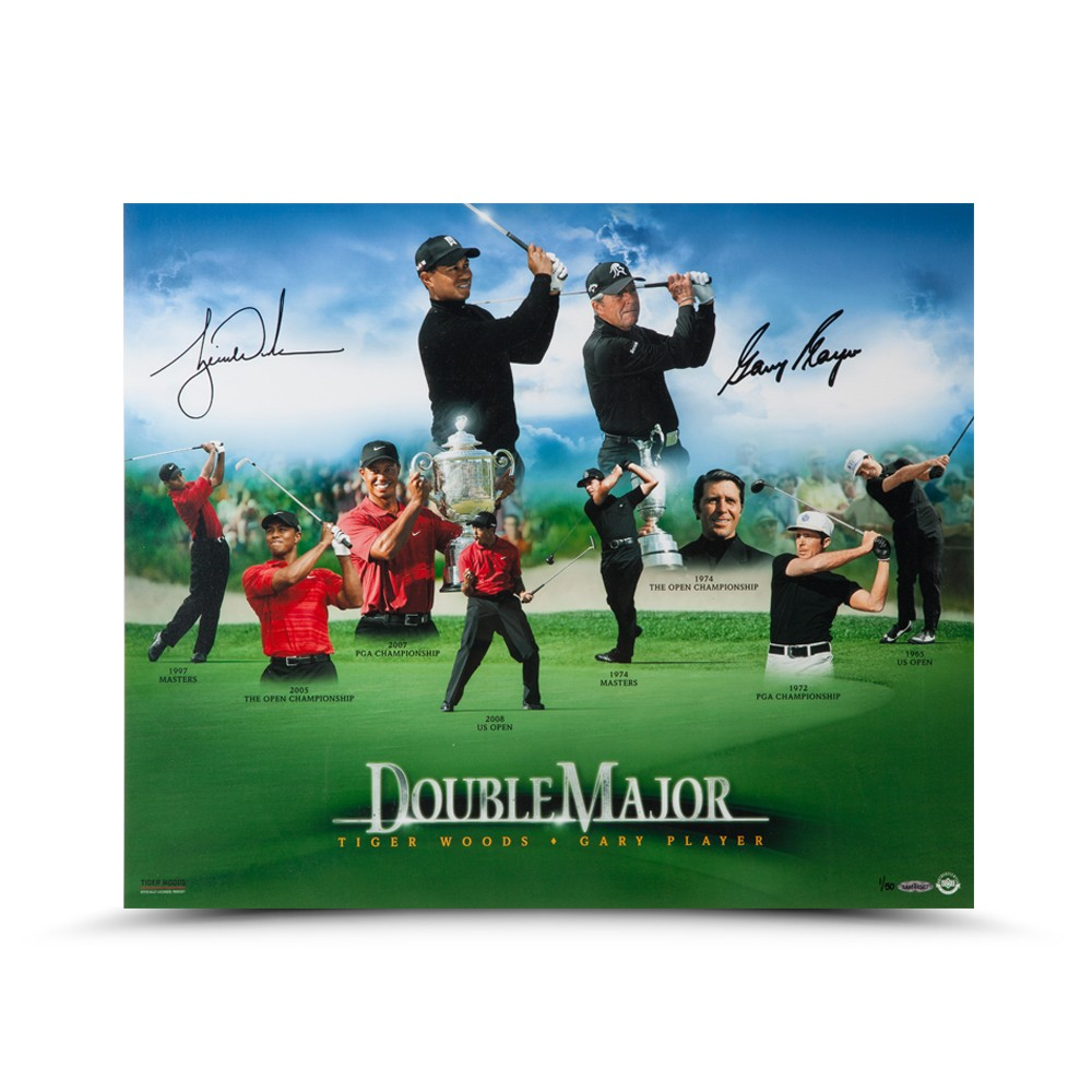 GARY PLAYER AUTOGRAPHED DOUBLE MAJOR PHOTO