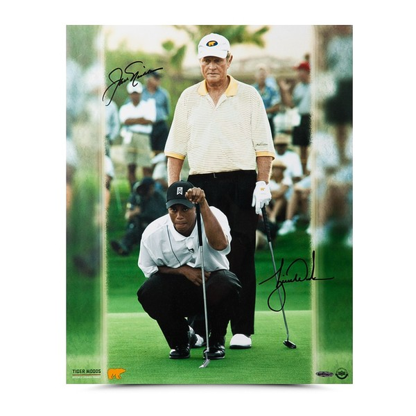 """JACK NICKLAUS & TIGER WOODS AUTOGRAPHED """"MATCH PLAY"""" 16 X 20"""