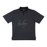 GARY PLAYER AUTOGRAPHED BLACK POLO WITH PURPLE PINSTRIPES